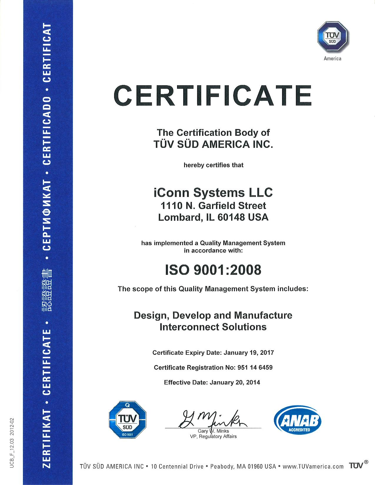 ISO 9001:2008 Certification for iCONN Systems