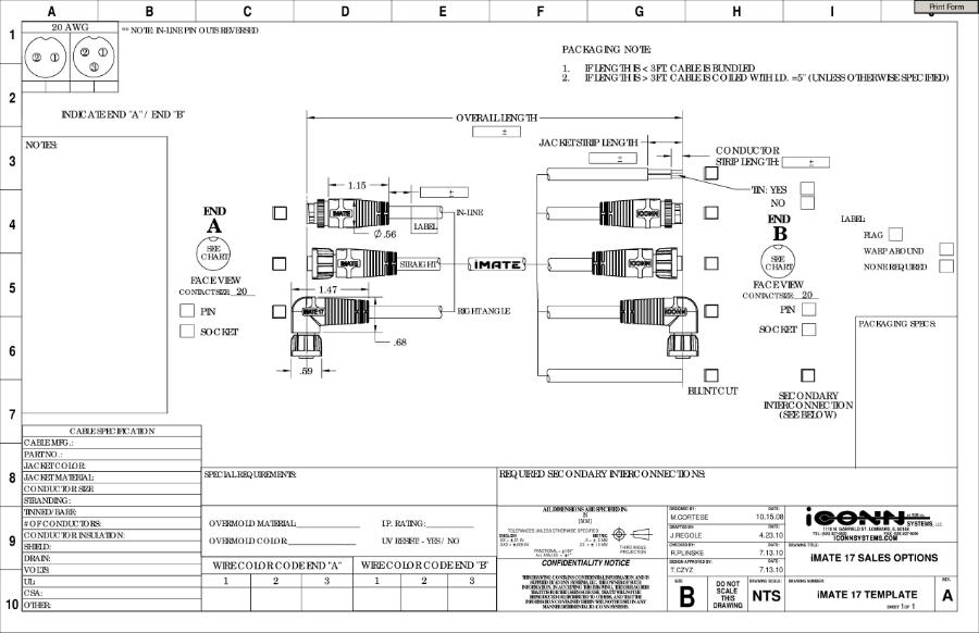 iMATE 17 Circular Plastic Connectors Engineering Specifications