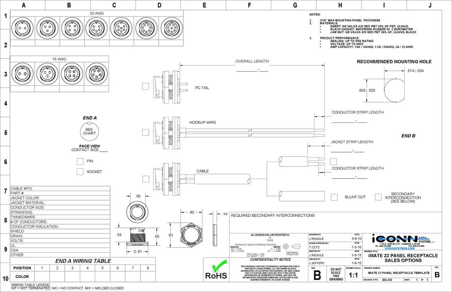 iMATE 23 Circular Plastic Connectors Engineering Specifications